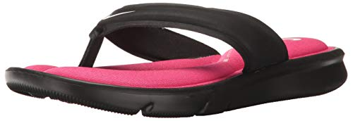 Nike Women's Ultra Comfort Thong Athletic Sandal, Black/White/Vivid Pink, 10 B US