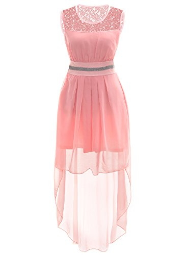 Big Girls Prom Wedding Gown High Low Chiffon Dresses Size 14-16 (14, Pink)