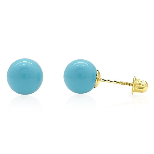 Simulated Turquoise Screw Back Ball Stud Earrings 3mm-8mm, 5 ()