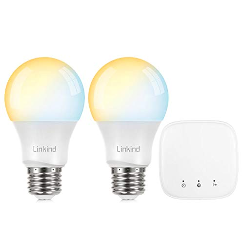 Linkind LED Zigbee Smart Bulb Starter Kit, 60W Equivalent, 2 Dimmable & Tunable (2700K~6500K) E26 Bulbs & 1 Mini Hub, Compatible with Alexa