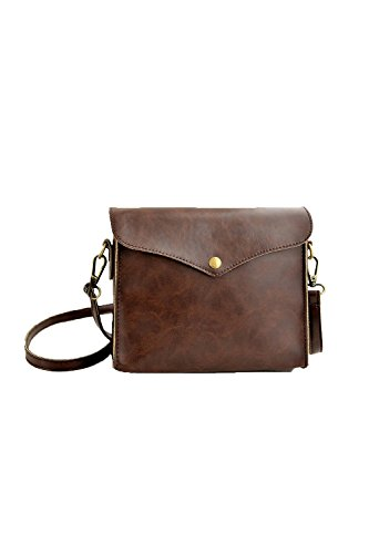 SODIAL(R) Retro Donne Spalla Borsa Faux Pelle Crossbody Messaggero Borsa - Marrone