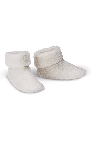 PajamaGram Soft Sherpa Fleece Non-Skid Slipper Bootie for Women, Off-White, 9