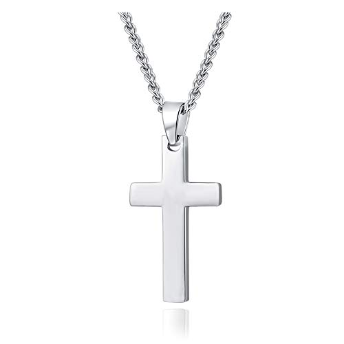 Xianli Wang Mens Womens Simple Cross Pendant Stainless Steel Titanium Necklace (Silver-Tone)