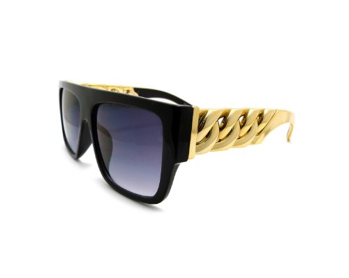 High Fashion Metal Chain Arm Flat Top Aviator Sunglasses (Shiny Black Gold) (Vanilla Ice Wig)