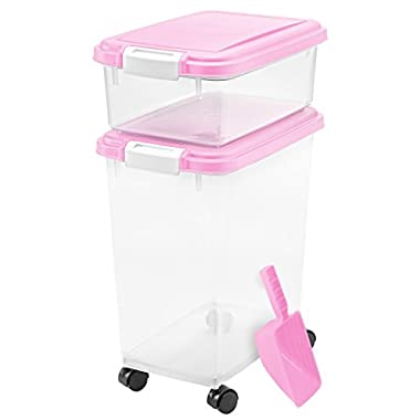 3- Piece Airtight Pet Food Storage Container Combo, Pink