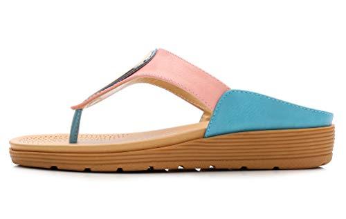 JDS® Bleu d'été Bohème Talon Compensées Sandales Chaussures de Métallique Rose Plage Décoration Bas Fortuning's AdqwA