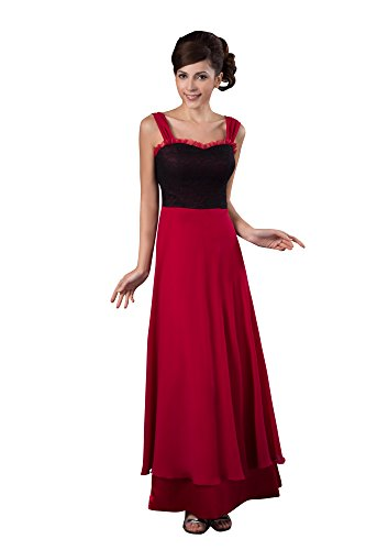 VogueZone009 Womens Straps Chiffon Pongee Formal Dress with Lace, ColorCards, 16 by VogueZone009