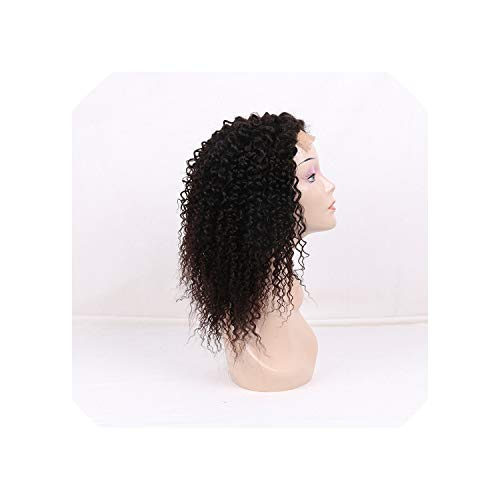 Lace Frontal Kinky Curly Human Hair Wigs With Baby Hair Non Remy Hair Natural Color Medium Brown Swiss Lace,12inches -
