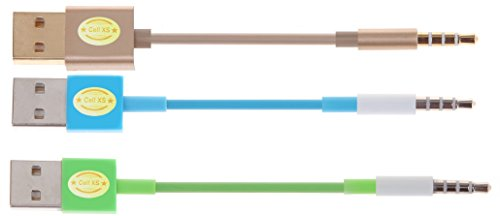TOP Quality USB Charger SYNC Data Cable for Apple iPod Shuffle 3rd 4th 5th Generation-3PCS (gold.blue.green)
