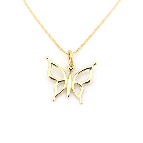 14k Yellow Gold Open Butterfly Pendant Necklace - 15'' by Beauniq