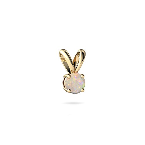 (14kt Yellow Gold Opal 4mm Round Solitaire Pendant)
