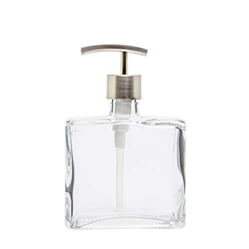 Glass Soap Dispenser Clear Lead-Free Square Recycled Glass Bottle with Rust Proof Stainless Steel Pump (8.5 Ounce, Modern Curve Stainless Steel Pump)