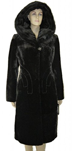 Special Mouton Lamb Fur Coat With Mink Trim (Mouton Fur Coat)