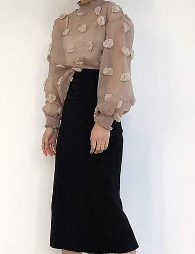 Blanc Blushing Blouse Pompon Noir Unie Couleur Active YFLTZ Pink Femme Yq8wa