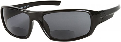 The Dapper Unisex BIFOCAL Wrap Around Reading Sunglasses, Sport Wrap Sun Readers BIFOCALS, Tinted Readers for Men and Women + 2.00 Glossy Black (Microfiber Cleaning Carrying Pouch Included) (Bifocal Tinted Mens Readers)