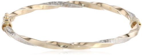 14k Gold Two-Tone Twist Bangle Bracelet, 7'' by Amazon Collection