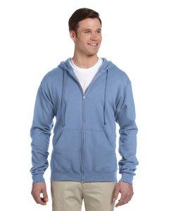 Jerzees Nublend Adult Full-Zip Hooded Sweatshirt (Light Blue) (3X)