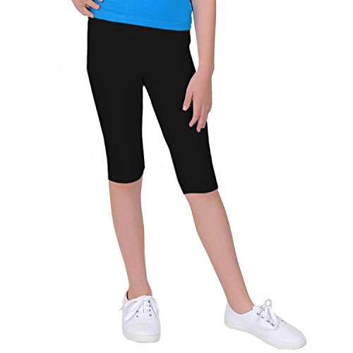 Stretch is Comfort GP Girl's Plus Size Cotton Capri Leggings Black Large by Stretch is Comfort (Image #4)