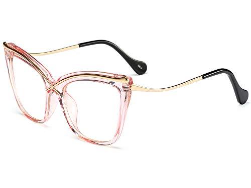 ALLT Oversized Metal Cat Eye Eyeglasses Transparent Frame Clear Lens Non prescription Eyewear for Women (Transparent Pink)