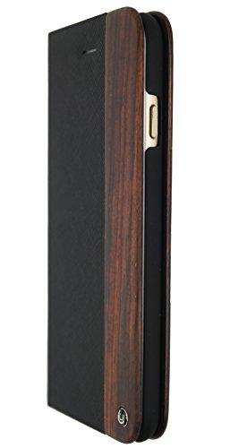 Uunique Modus Holz Saffiano Textur Folio Hard Shell Case für iPhone 6/6S Plus–schwarz