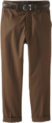 American Exchange Big Boys' Belted Dress Pants, Brown, 14