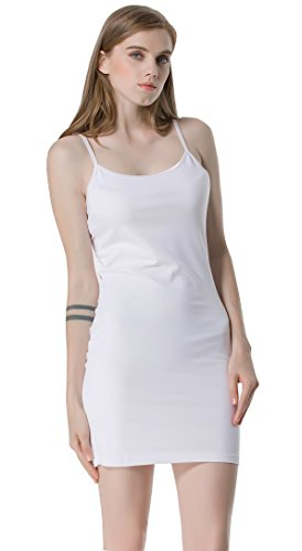 Moxeay Women's Basic Cotton Long Stretch Camisole Cami Top (Medium, White) - Long Layering Camisole