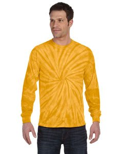Spider Yellow T-shirt (Tie-Dye 5.4 Oz., 100% Cotton Long-Sleeve Tie-Dyed T-Shirt (CD2000)- Spider Gold,Large)