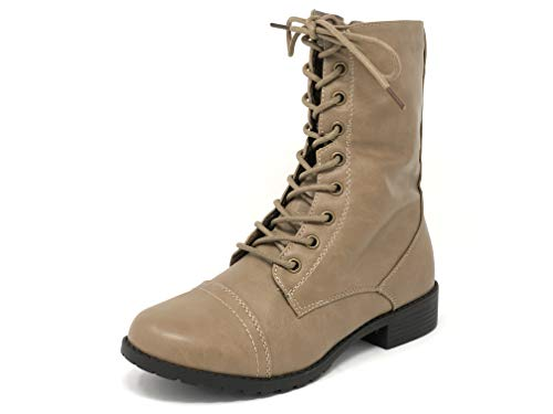 (Forever Link Womens Mango Round Toe Military Lace up Knit Ankle Cuff Low Heel Combat Boots (9 M US, Taupe))
