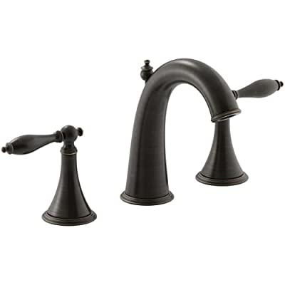 Kohler K3104M2BZ Finial Traditional Widespread Bathroom Sink Faucet with Lever Handles, Oil-Rubbed Bronze