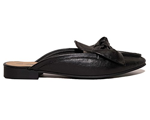 Chalres Albert Women's Gold Tone Horsebit Hardware Backless Slip On Loafer (10, Black) ()