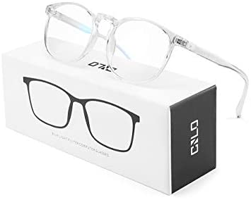 CNLO Blue mild blocking off Glasses,Computer Glasses,Radiation coverage Gaming Glasses,For UV Protection, Anti Eyestrain,Lightweight Frame Eyewear,Men/Women (Crystal)