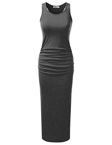 Doublju Stretchy Cotton Racerback Tank Maxi Dress For Women With Plus Size (Made In USA) Charcoal - Active Usa Be