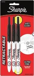 Bulk Buy: Sanford Sharpie Retractable Ultra Fine Tip Carded 3/Pkg-Black (2-Pack)