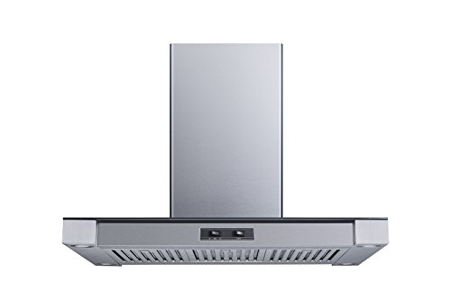 36″ 400 CFM Convertible Island Mount Range Hood with Stainless Steel Baffle Filters and 4 Ultra bright Soft White LED Lights