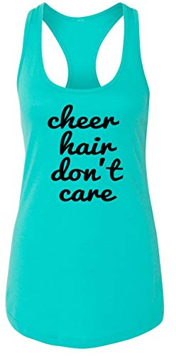 Ladies Tank Top Cheer Hair Don't Care Tahiti Blue M
