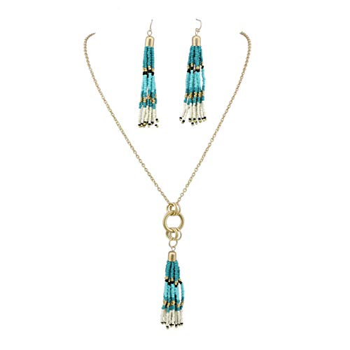 (Bocar Long Gold Chain Seed Beads Jewelry Necklace Earring Set with Cluster Tassel Pendant (NK-10353-blue Green))