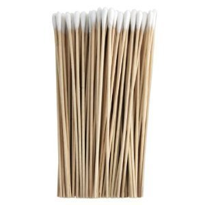 100pcs 6 Wooden Handle Single-Tipped Cotton Swab Cotton Buds HEALL