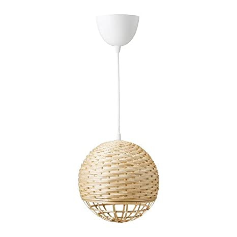 Ikea Industrial - Lámpara colgante de bambú; redonda; (24 cm ...