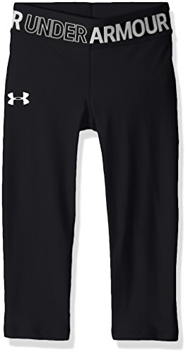 Under Armour Girls' HeatGear Armour Capris, Black /White, Youth Large