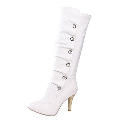 ENMAYER Mujeres PU Material Alto Talones Rodilla Alta medio-becerro stiletto nieve invierno botas Blanco