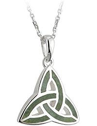 "Jewelry Irish Trinity Knot Necklace Silver & Connemara Marble 18"" Chain"