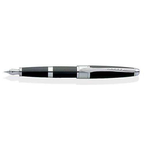 Cross Pens :  Apogee, Black Lacquer & Chrome, Fountain Pen, Rhodium Plated Solid 18 Karat Gold Nib Fine (AT0126-2FD)