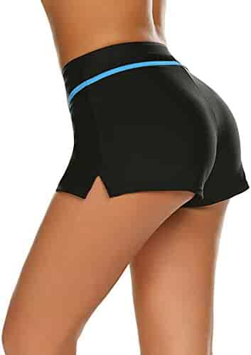 f0a6a3ca52 ELOVER Womens Sports Side Split Waistband Swim Shorts with Panty Liner  Beach Board Shorts
