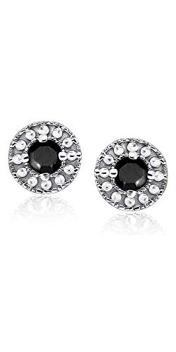 Natalia Drake Genuine Black Diamonds and Sterling Silver Bead Halo Stud .25 or 1/4 TGW - White Gold Diamond Solitaire Genuine