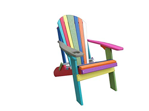 Confetti Folding Adirondack Chair w/Cup Holder - Poly Lumber - Aruba Blue Arms ()