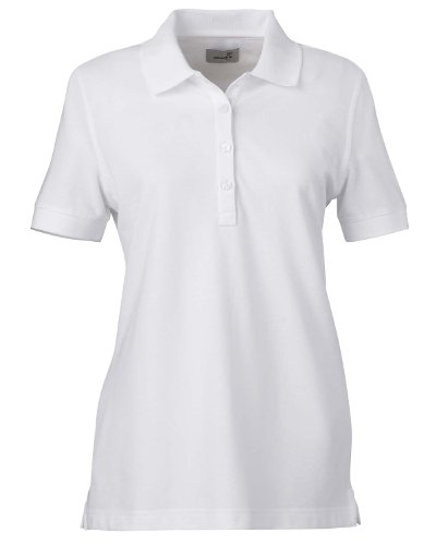 Ashworth Ladies' Combed Cotton Pique Polo Sport Shirt 1146C White Large