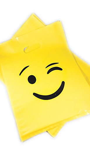 Matrix Wizard 25 pcs Yellow Emoji Wink Party Favor Plastic Bag (12 x 9 inch - 2.0 Mil) for Children's Birthday Party, Kiddie Treats such as Toys and Candies, Merchandise or Shopping (Cute Halloween Yard Decoration Ideas)