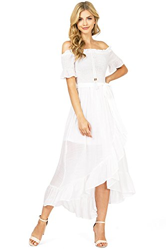 Flying Tomato Women's Linen Off Shoulder Hilo Midi Dress (M, White)