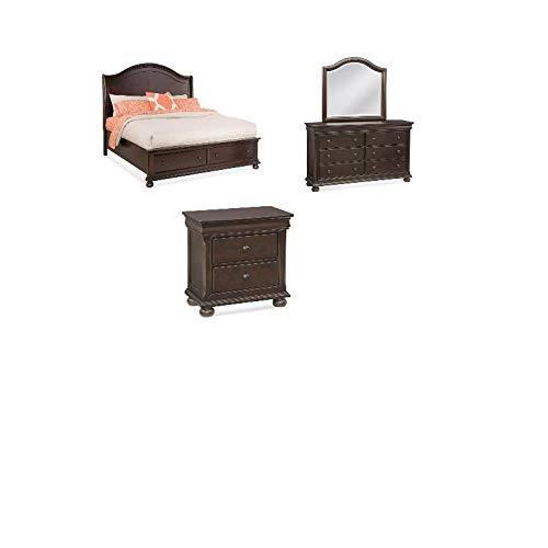 Merlot Queen Sleigh Bed - American Woodcrafters Hyde Park 4-Piece Bedroom Set - Queen