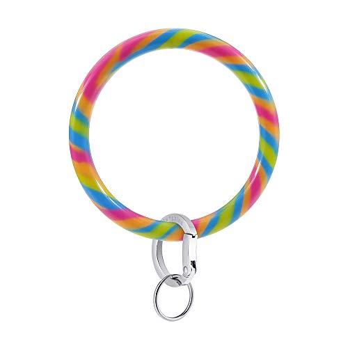 Townshine Silicone Bangle Key Ring Wrist Keychain Bracelet Round Key Rings (Rainbow)